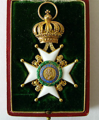 German WWI Saxe-Ernestine House Order Knights 1st Class in Gold with Ribbon
