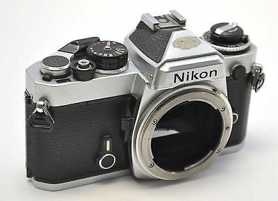 Nikon FE Chrome 35mm SLR Camera Body Only with New Batteries