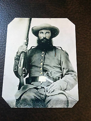 Civil War US Soldier with Military Rifle & Beard  TinType C886NP