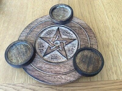 Wood Triple Candle Tealight Holder with Pentagram. Wicca, Pagan, Altar