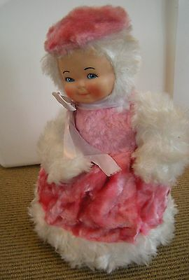 Vintage 1950's Pajama Doll Zip Bag Plush Pink White Rubber Face Ganz Broz