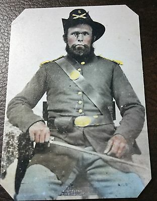 Civil War Confederate Military Soldier With Sword TinType C008NP