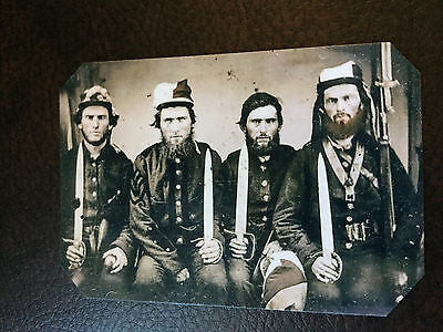 4 Civil War Bad Ass US Soldiers With Large Knives TinType C865NP