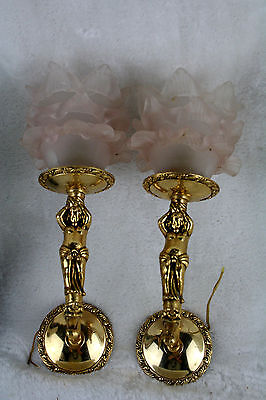PAIR vtg French Brass putti cherubs angel sconces wall lights glass tulip shades