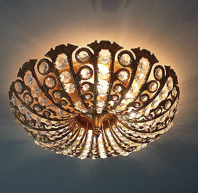 Exclusive Brass copper crystal glass chandelier pendant French 1970's