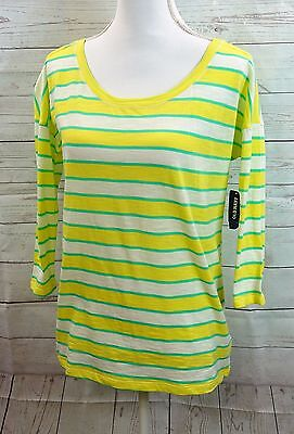 c4d6e63c9a Nwt Old Navy Women Size M Yellow Green White Striped Tee Shirt Top Blouse