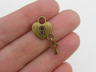 4 Heart  lock with key charms  antique bronze tone BC169