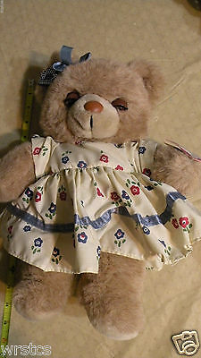 "Vintage 1987 Applause Teddy Winks mommy bear 13"" floral dress"