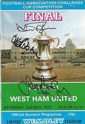 West Ham vs Fulham 1975 FA Cup final Signed programme