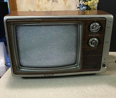 "Vintage Portable Rare Blackstripe Toshiba TV TELEVISION 13"" Turns On Wood Finish"