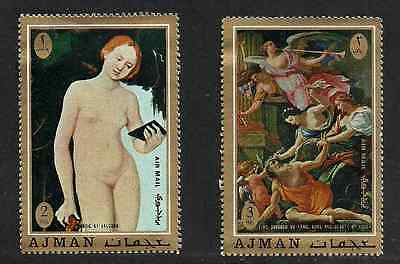 Ajman Airmail Mint Condition Stamps - 2 Nude Impressionist Paintings 1971