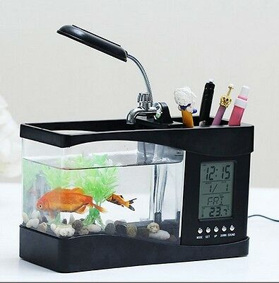 USB Desktop Aquarium Mini Fish Tank LED Pump Light Beleuchtung Thermometer Black