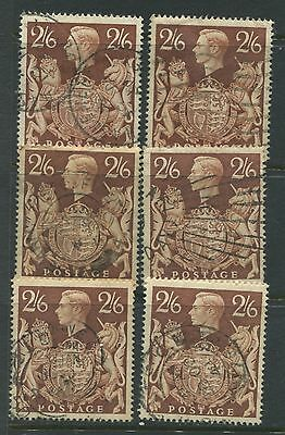 "GB. - SG. 476 :  6 copies of the ""  2/6 BROWN - ' ARMS ' ."