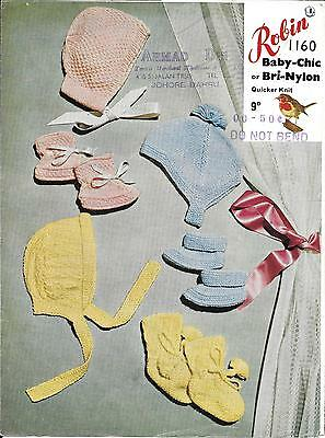Vintage Robin 1160 Knitting Pattern, Bonnets and Bootees, DK, Newborn - 3 months