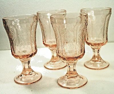 Lot of 4 VTG Pink Footed Goblet/Water Glasses -Indiana Recollections Madrid 1982