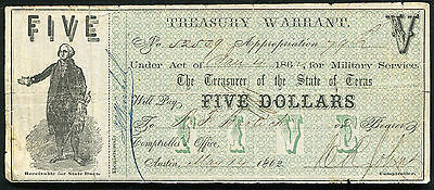 1862 $5 Five Dollars Treasury Warrant Austin, Tx Military Service Issue