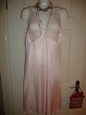 Made In England Vintage Pink Lacy Slip Dress Petticoat Nightie Nightdress