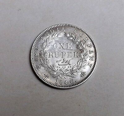 India Victoria 1840 One Rupee[Indian Head Type]A/unc Very Nice Rare Coin