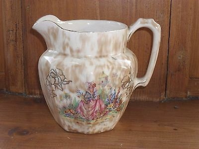 Large antique Jug, elegant country lady garden Price Bros Lonsdale, gilt, 1930s