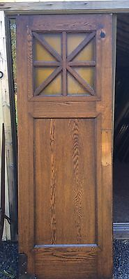 Antique Church Pair of swinging French doors. Solid Oak w/ Original Amber Glass