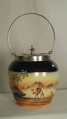 Antique BISCUIT BARREL / JAR  Hand Painted Porcelain w/ SILVER HANDLE