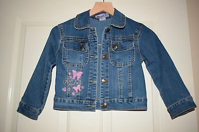Girls Denim Jacket Embroidered  Size 110cm 5 years Old 100% cotton