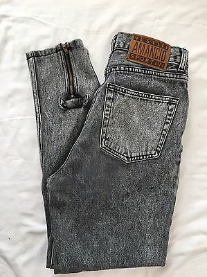 Womens 9/10 Mom Jeans Vintage High Waist 80's 90's Black Acid Wash Tapered Bows
