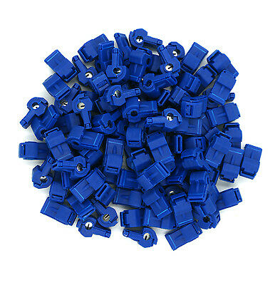 100 Pack Blue 16-14 Gauge T-Tap Connector - FREE SAME DAY SHIPPING!