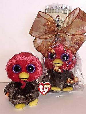 Ty Gobbles Beanie Boos In Cello-New, Mint Tag, Retired, Htf-Dont Eat This Turkey