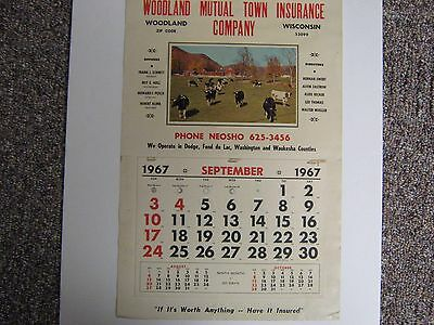 1967 Calendar Advertising Woodland Mutual Insurance Neosho Wisconsin Wis Wi
