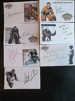Los Angeles Kings Goalies 7 Autographed 3x5 Index Card Lot