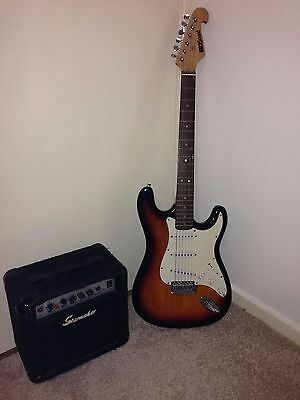 Electric guitar with amp and cables