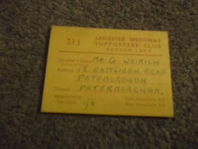 Vintage Leicester Speedway Supporters Club Season 1953 Membership Card