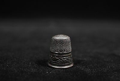 Antique Sterling Silver Thimble Germany Size #6 Floral
