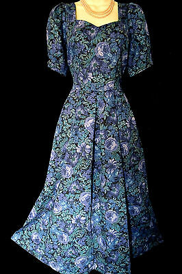 Laura Ashley Vintage Blue Roses Triple Bow Floral Feature Back Dress Uk 12