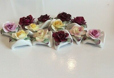 Set Of 12 Vintage Ainsley Rose Place Card Holders