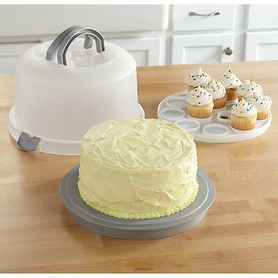 2 in 1 Round Cake Carrier Holder Container with Cupcake Insert Caddy Silver NEW