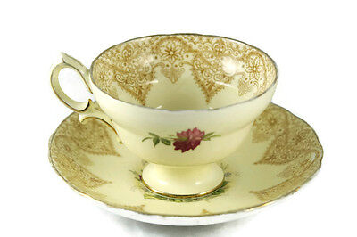 Vtg Hammersley Tea Cup Pink Rose Chintz Pale Yellow Paisley Border Place Holder