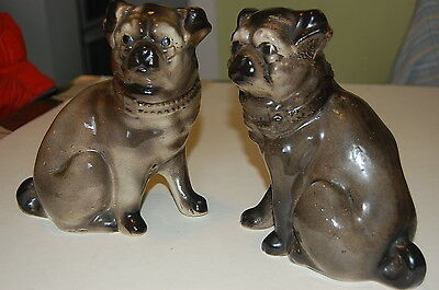 Antique 19th Century Bridgeness Pottery - Pug Dogs [Mantle/Wally Dogs]