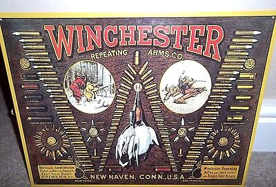 WINCHESTER GUNS, CARTRIDGES :ANTIQUE-STYLE METAL WALL SIGN 40X30CM/ SHOOTING usa