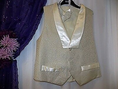 """Ivory Satin  Brocade Waiscoat /2 X Dickie Bows.44"""" Chest.cruise,"""