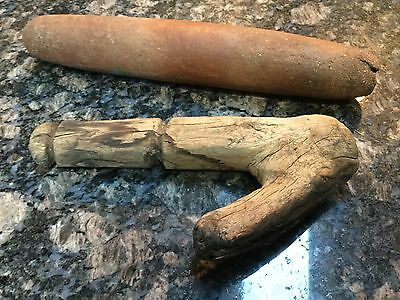 American Indian kummeyaay tube pipe and meat hook
