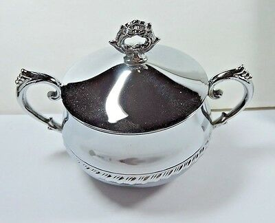 New NOS Antique Unmarked Silver Metal COVERED SUGAR Holder
