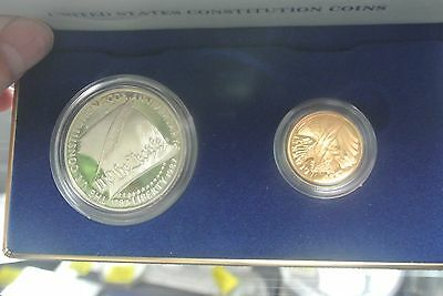 1987 U.S. Constitution 2 Coin Set $1 Silver $5 Gold Proof