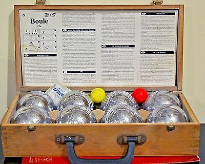 Ikia Chrome Bocce 8 Ball Set In Wooden Case