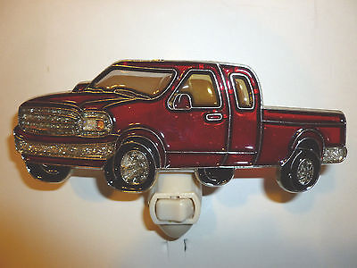 """Stain Glass Style - """"RED PICK-TRUCK""""    NIGHT LIGHT"""
