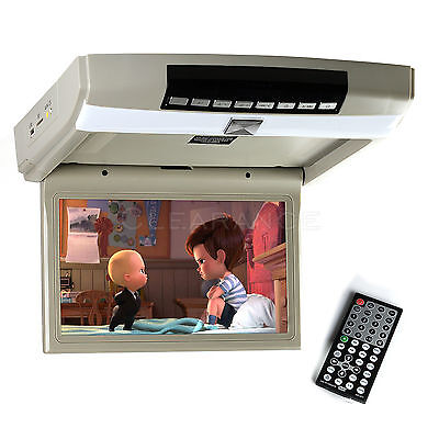 10.1 inch HD LED Overhead Monitor Flip Down Roof Mount Monitor W/ Remote Gray