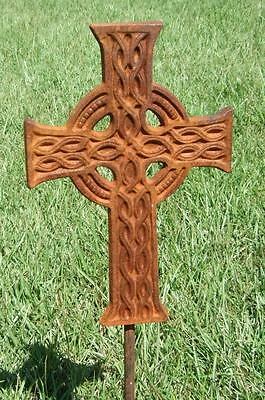 """27"""" Cross Iron Garden Stake Celtic Metal Yard Plant Made In Usa Christian Ps003"""