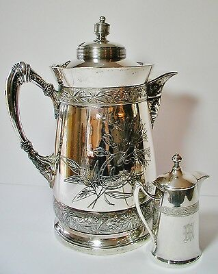 Large Simpson, Hall & Miller Ornate 1800s Aesthetic Movement Water Pitcher #387