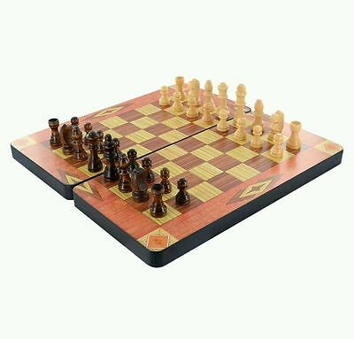 Wooden 3 In 1  Chess Game Set Chess Set Box Checkers Backgammon Board